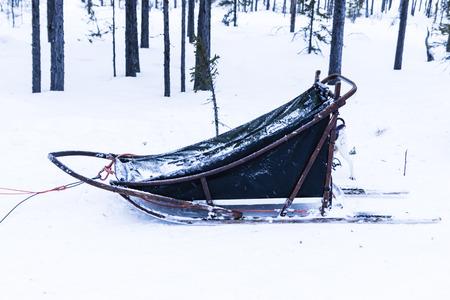 esquimales: trineo azul en la nieve blanca en Kiruna Suecia