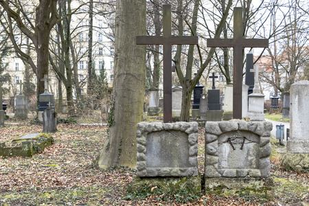 christian religion: Tombstones in a cemetery nature park outdoors Stock Photo