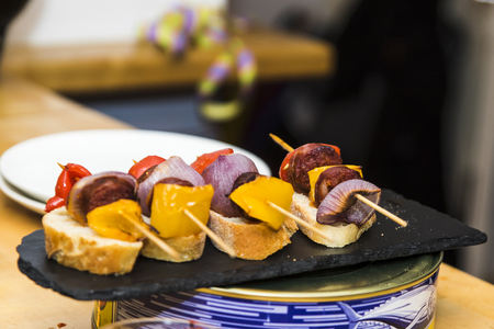 Several Spanish tapas called pintxos of the Basque country