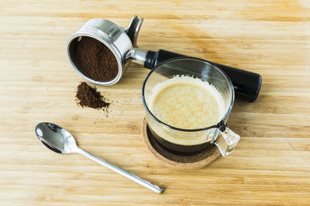 cup of espresso on wooden board Stock Photo