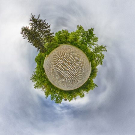 Little Planet. A Spherical 360 degrees seamless panorama view in Spherical projection, panorama of natural landscape in Germany.
