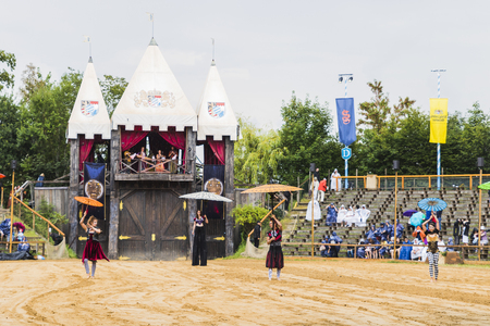 Medieval tournament with knights, performances, shows, food and drink typical of the area in Kaltenber, Germany. Editöryel