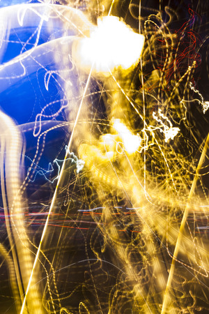 A abstract designs with lights in the dark. Lightpainting Stock Photo