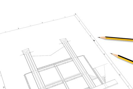 A Part plan of architectural project on the white background Standard-Bild - 125618244