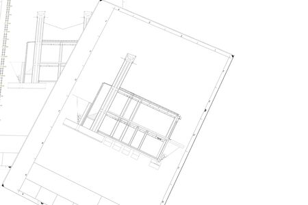 A Part plan of architectural project on the white background Standard-Bild - 125618376