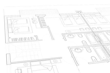 A Part plan of architectural project on the white background Standard-Bild - 125618385