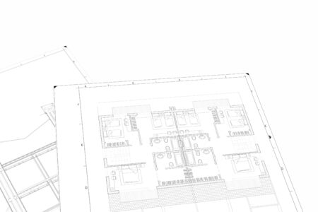 A Part plan of architectural project on the white background Standard-Bild - 125618387