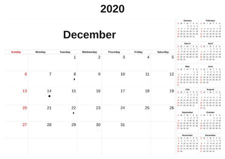 A 2020 ein Monatskalender mit weißem Hintergrund. Standard-Bild