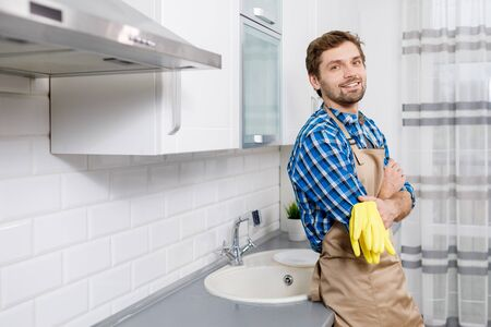 Young Man Posing After Intense Household Work