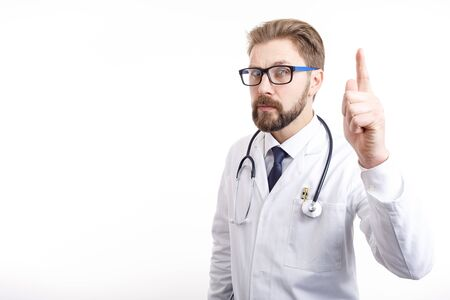 Smart Bearded Brown-haired Doctor Raising Index Finger