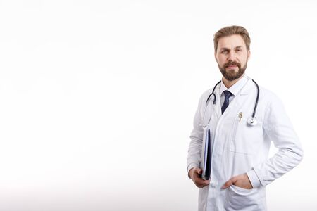 Smart Smiling Male MD in White Smock and Shirt