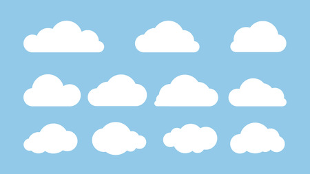 Set of clouds isolated on blue background. Flat vector illustration