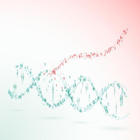 human evolution: dna. binary code. virus. vector illustration