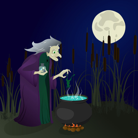 witch in the swamp brews potions. halloween. vector illustration Illustration