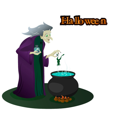 witch brews potions. halloween. vector illustration