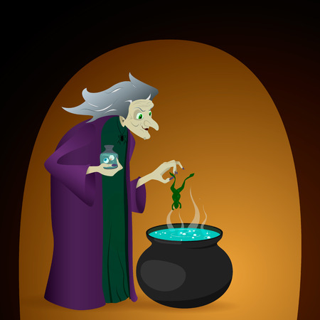 witch brew a potion in cauldron. Vector illustration for halloween Illustration