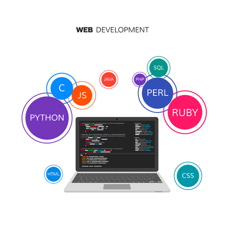 sql: Web development infographic. Programming and coding concept. Vector illustration