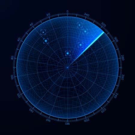 Blip. HUD interface element radar. Target detection on the radar screen. Vector illustration