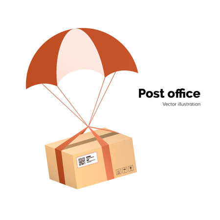 Post office. airmail delivery service. Packege with label, QR code. parcel with parachute for shipping, flat vector illustration Illustration