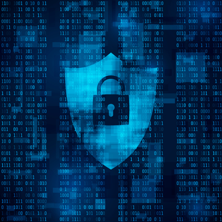 programming code: encryption of information. firewall - data protection. system of network security. Abstract vector technology background