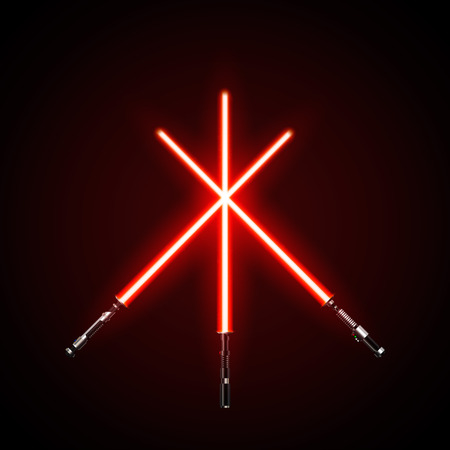 Red crossed light swords. Vector illustration isolated on dark background