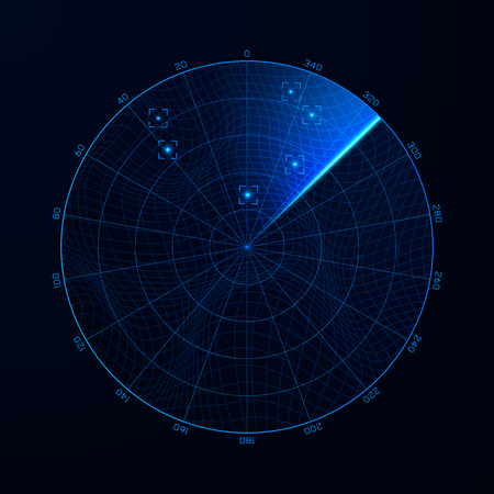 Radar in searching. Military search system blip illustration. Target on blip. Blue navigation interface. Vector Illustration