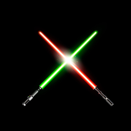 Two realistic light swords. crossed green and red light swords. Vector illustration isolated on dark background