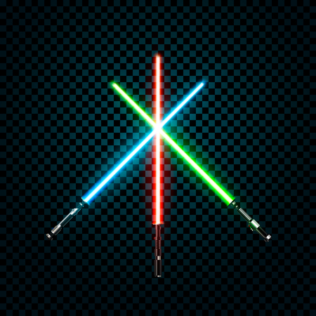 Set of realistic light swords. Crossed sabers. Vector illustration isolated on transparent background