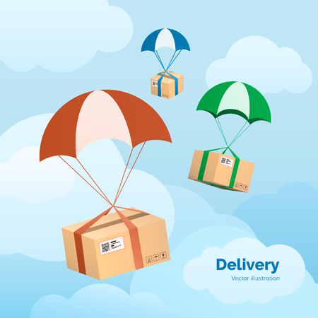 Delivery Service. Packages are flying on parachutes. Parcels in the sky. Flat vector illustration