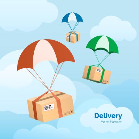 Servicio de entrega. Los paquetes están volando en paracaídas. Paquetes en el cielo. Ilustración vectorial plana Foto de archivo - 88639068