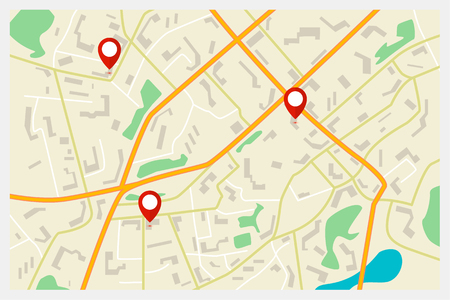 global positioning system: Vector city map with red markers