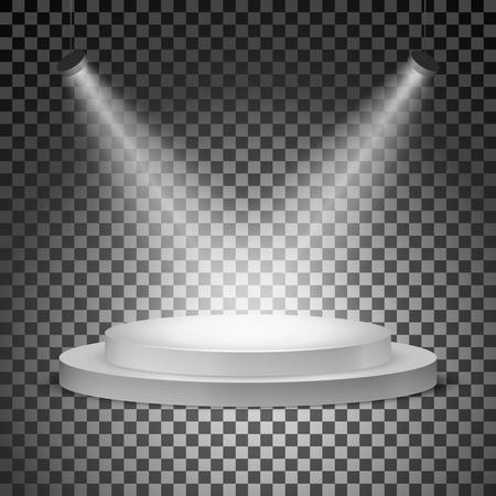 Podium illuminated with searchlights on a transparent background. Vector illustration Illustration