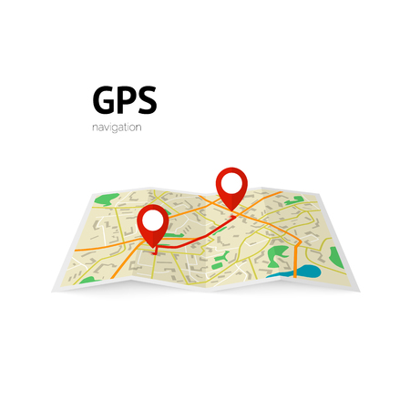 rout: gps navigation. the path on the map is indicated by a pin. vector illustration