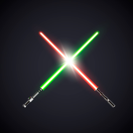 Two realistic light swords. crossed swords. Vector illustration isolated on dark background