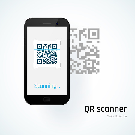 QR scanner. Mobile scans QR code. Vector illustration