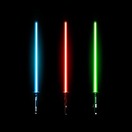 Set of realistic light swords. Vector illustration isolated on dark background