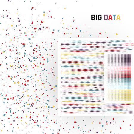 Big Data. Traitement de données structurées et non structurées d'énormes volumes. Illustration vectorielle