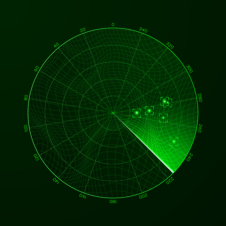 Radar. Blip. Detection of objects on the radar. Vector illustration Ilustrace