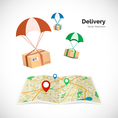 Delivery service. Parcels fly to the destination indicated on the map by the pointer. Vector illustration