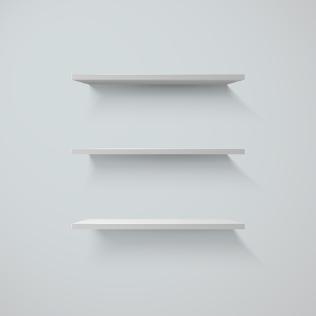 Set of white shelfs on a wall. vector illustration Ilustracja