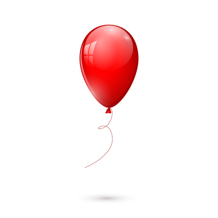 red glossy balloon isolated on white background. vector illustration Vectores
