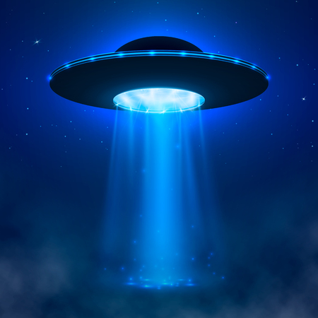 UFO. Alien spacecraft with light beam and fog. UFO Vector Illustration Imagens - 90027719