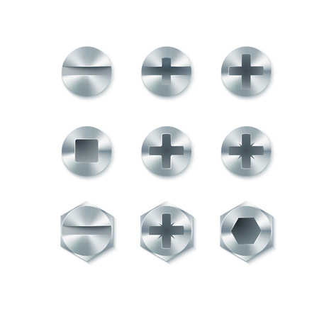 metal fastener: Set of screws and bolts, nails isolated on white background. Vector illustration