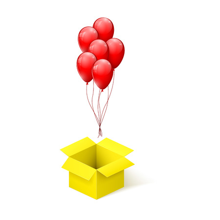 Box with surprise. Balloons flying from open yellow box. vector illustration
