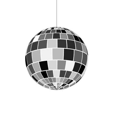 Icona della palla da discoteca. Simbolo della vita notturna degli anni '70. Festa in discoteca retrò. Illustrazione vettoriale