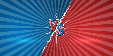 Concept of versus. Template of design for against, confrontation, competition or challenge. VS letters on retro background. Vector illustration