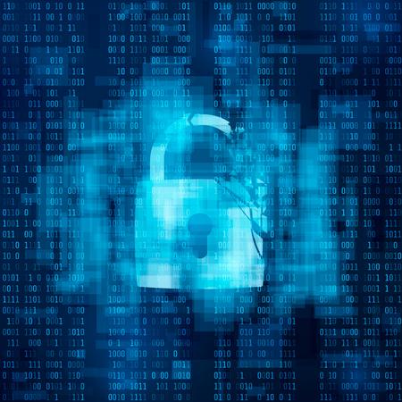Hacked firewall concept. Broken security system, Cybercrime. broken lock on matrix background. vector illustration.