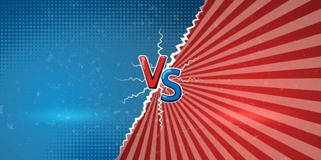 Banner with an explosive announcement of confrontation or battle. Creative letters VS us a symbol of versus on retro background. Vector illustration Stock Illustratie