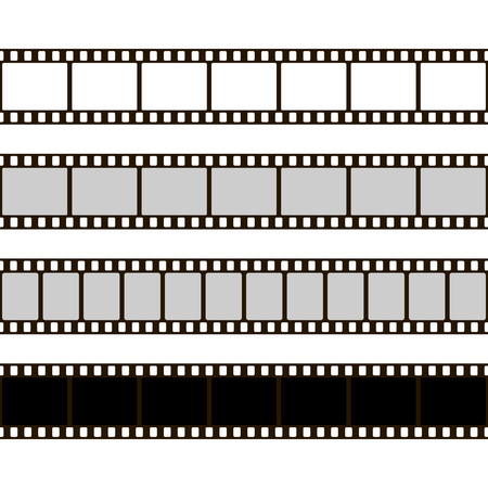 Film strip set. Collection of film for the camera. Cinema frame illustration. Template of negative on white background.