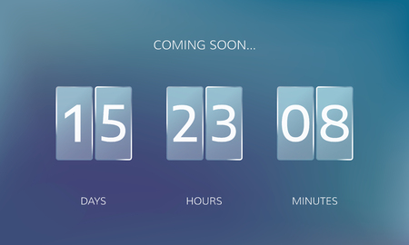 Modern design of a web countdown banner. Concept flat countdown counter. Vector illustration on blue background.